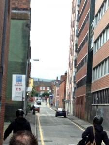 Republican youths head down Kent Street in a bid to reach Royal Avenue