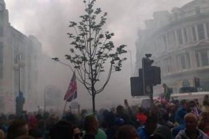 Smoke billows over Royal Avenue on Friday night