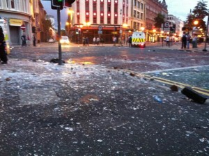 The aftermath of rioting in Royal Avenue on Friday night