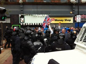 Loyalists try to breach police lines in Royal Avenue