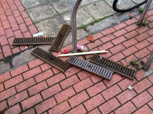 Some of the missiles thrown by loyalsits at police lines in Royal Avenue