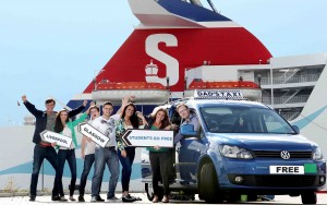 STUDENTS GO FREE: Stena Line's Neil Palmer celebrates with students the launch of the leading ferry company's fantastic Students Go Free offer that will help save some much needed pounds for the start of the new university term.