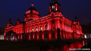 How Belfast City Hall will look when it is bathed in red light for the launch of Poppy Day next month