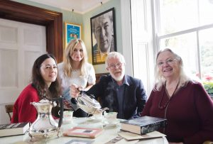 L-R) Ria Higgins from The Sunday Times magazine joins Claire Keenan from the Northern Ireland Tourist Board (NITB), Christopher Sommerville from The Times newspaper and the National Poet of Wales, Gillian Clarke, at the On Home Ground Poetry Festival in Magherafelt. NITB hosted the journalists during the festival which was a celebration of poets and poetry and paid tribute to the life and works of one of Ireland's greatest poets Seamus Heaney.