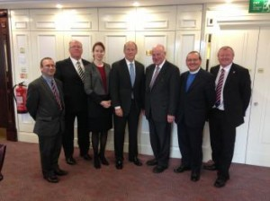 Senior figures with the Orange Order's Grand Lodge meet Dr Richard Haass' and his team in Belfast on Thursday