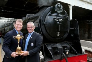 USA captain Tom Watson and European captain Paul McGinley with the Ryder Cup