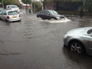 Flooding on the Shankill Road, west Belfast on Saturday afternoon