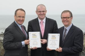 Howard Hastings, Managing Director of Hastings Hotels joined Stephen Meldrum, General Manager of the Slieve Donard Resort & Spa and Deputy General Manager Ciaran Murtagh to celebrate the hotel being crowned the supreme winner of the Irish hospitality industry at the 25th Hotel & Catering Review Gold Medal awards in Dublin this week.