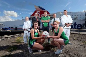 (Front) Niamh Cooper and Gemma Gibney (captain) of the Northern Ireland netball team, (back l-r) NI Judo champion Lisa Kearney, Stena Line's Neil Palmer, swimmer Curtis Coulter, Conal Heatley of the NI Commonwealth Games Council and Judo player Eoin Fleming.