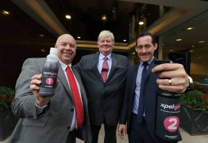 Pictured at the global launch of the product xpelgum today at the Merchant Hotel, Belfast, is (from left) Ian Murphy, Director of Growth and Scaling, Invest NI, Chairman/Technical Director of Expelliere International John McCandless and xpelgum Sales Director Chris Lomas.