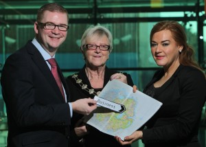 Pictured with the Minister is Mayor of Ballymena Borough Council Audrey Wales and Council Chief Executive Anne Donaghy. PICTURE:BRIAN THOMPSON/PRESSEYE
