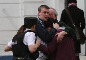 Relatives of Barry McCrory at the scene in Shipquay Street