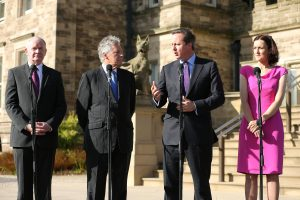 First Minister Peter Robinson and deputy First Minister Martin McGuinness are pictured after meeting the Secretary of State for Northern Ireland Theresa Villiers and Prime Minister David Cameron at Stormont Castle. PICTURE: KELVIN BOYES/PRESS EYE