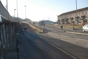 The Leckey flyover closed during a security alert in Derry on Tuesday night after a pipe bomb attack on police