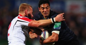Ulster's Luke Marshall keeps at bay Leicester's Dan Bowden