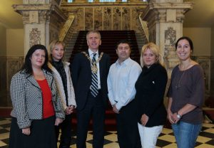 Pictured is Naomi Waite, NITB Director of Marketing and the Lord Mayor of Belfast with business tourism buyers Veronique Antrope (France), Jorge Baeza (Spain), Geraldine Huybrechts (Belgium) and Tina Tarara (Germany).