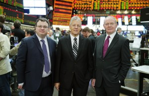 First Minister Peter Robinson and deputy First Minister Martin McGuinness are pictured with Employment and Learning Minister Stephen Farry during a visit to the trading floor at the he Chicago Mercantile Exchange in downtown Chicago. Picture by Kelvin Boyes / Press Eye.