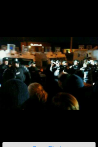 Loyalist protestors and PSNI riot squad in Mexicn stand off at Twaddell Avenue tonight