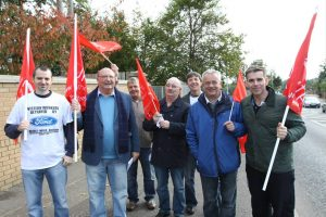 Former Visteon workers hold white line protest at former Belfast factory on Saturday