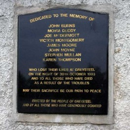 The memorial to the Greysteel pub massacre victims