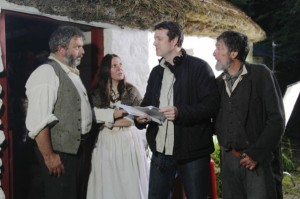 "From left, Nigel ONeill (John), Louise Matthews (Sarah), writer Darren Gibson and Lalor Roddy (The Pedlar) during the making of ""Stumpy's Brae."""