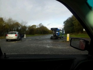 The scene of the accident on Friday which claimed the life of tractor driver Christy Lipsett