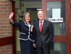 SDLP Leader and South Down MLA Margaret Ritchie pictured with outgoing SDLP South Down MP Eddie McGrady after casting her vote today in May 2010