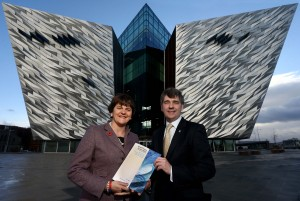 Enterprise, Trade and Investment Minister Arlene Foster with Dr Peter Heffernan, Chief Executive Marine Institute at the SmartOcean Forum at Titanic Belfast. PHOTO: WILLIAM CHERRY/PRESSEYE