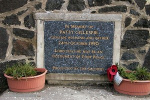 The memorial stone erectted at the scene of the Coshquin bombing.