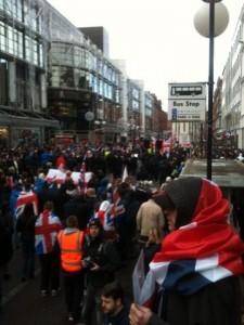 Loyalist protestors gather in Royal Avenue in Belfast city centre
