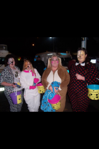 Members of 'Camp Twaddell' in north Belfast out collecting money for Children In Need