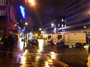 The scene of the security alert in Belfast City Centre on Friday evening