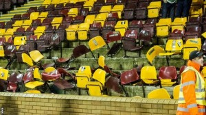 The damage caused by Celtic fans to Motherwell's Fir Park ground