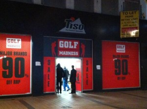 The Golf Madness  shop in Belfast's Cornmarket targeted with a firebomb earlier this week