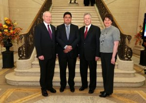 First Minister Peter Robinson, deputy First Minister Martin McGuinness and Enterprise Minister Arlene Foster welcomed Marcus Molina, Chief Executive of BrazilÕs Marfrig Group to Stormont where they discussed potential investment opportunities at Moy Park in Northern Ireland. Pic: Kelvin Boyes/PRESSEYE