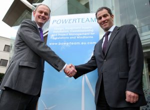 Pictured celebrating the acquisition is (from left) Alastair Dawson, Managing Director, Powerteam and Rochdi Ziyat, Managing Director, VINCI Energies United Kingdom.