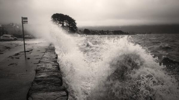 Waves crash the coastline in Warrenpoint, Co Down on Sunday