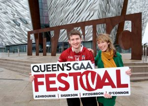 Eimear Callaghan of the Northern Ireland Tourist Board (NITB) and Co Down player Conor Maginn are pictured at Titanic Belfast, one of the many attractions thousands of visitors can look forward to seeing when they visit Belfast for the first ever Queen's GAA Festival.