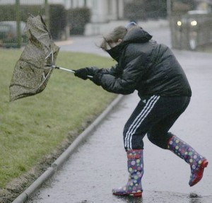 BROLLY AWFUL WEATHER.. Winds expected to top 80 mph