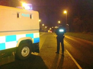 Police at the scene of a security alert on Monday night but nothing untoward was found