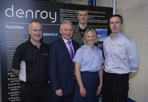 Denroy employee David Dickson, Production Manager Alan Bradbury,Jim Knowles, Head of Sales Denroy, and Flight Lieutenants James Milmine and Sarah Waugh ©Russell Pritchard / Presseye