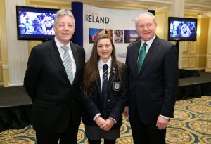 First Minister Peter Robinson and the deputy First Minister Martin McGuinness pictured with Methodist College pupil Hannah Nelson at the annual St. Patrick