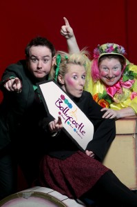 Caolan Mc Bride, Nicola Cunningham and Christina Nelson of Cahoots NI children's theatre company along with Ballycastle Town Partnership