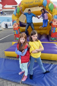 Arianna and Charlotte Vance look on in dismay as their mum Louisa Jane and dad Richard free their inner child