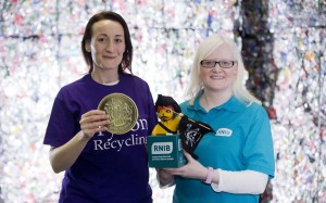 Claire McCallum from Bryson Recycling and Rosaleen Dempsey, Children and Young People's Manager from Royal National Institute of Blind People Northern Ireland (RNIB NI) mark the success of this year's '£1 a tonne' campaign, which raised £6533 for RNIB NI.