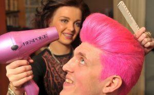 The Giro...Lauren Reid of Bespoke Hairdressing puts the finishing touches to Chris Hutchinson's new Giro look