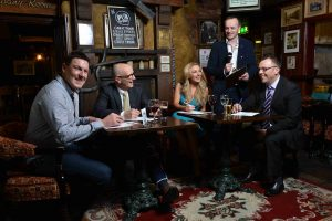 Great Ulster Pub Week  World Record Attempt 1: (l-r): Gareth Stewart, Cool FM presenter, Colin Neill, CEO of Pubs of Ulster, Miss Northern Ireland Meagan Green, Gary Myles, Downtown radio presenter and Mark Stewart, Pubs of Ulster chairman get in some practice for The Great Ulster Pub Week World Record Attempt Pub Quiz.