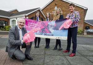Transport Minister Danny Kennedy presents Limavady Grammar School  with a Banner designed by pupils