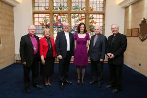 l-r, Archbishop Richard Clarke (Church of Ireland Archbishop of Armagh), Rev Dr Heather Morris )President of the Methodist Church), Rt Rev Dr Rob Craig (Moderator of the Presbyterian Church), NI Secretary of State Theresa Villiers, Rev Dr Donald Watts (President of the Irish Council of Churches) and Bishop Donal McKeown (Roman Catholic Bishop of Derry).