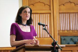NI Secretary of State Theresa Villiers delivers her key note address on 'Moving Politics Forward' at the Assembly Buildings in Belfast city centre this morning. PIC: KELVIN BOYES/PRESS EYE